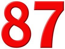 Le chiffre 87, quatre-vingt-sept d'isolement sur le fond blanc, 3d rendent Photos libres de droits