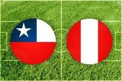 Le Chili contre le match de football du Pérou photo libre de droits