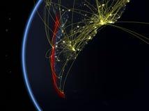 Le Chili de l'espace avec le réseau photos libres de droits