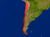 Le Chili de l'espace en rouge Images libres de droits