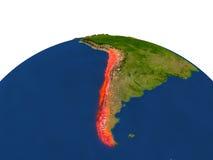 Le Chili en rouge d'orbite Photographie stock libre de droits