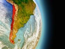 Le Chili en rouge de l'espace Photos libres de droits