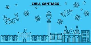 Le Chili, horizon de vacances d'hiver de Santiago de Chile Le Joyeux Noël, bonne année a décoré la bannière avec Santa Claus illustration libre de droits