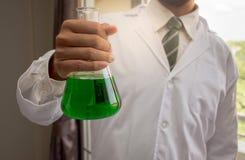 Le chimiste tient la fiole conique en verre avec une solution chimique liquide verte photos libres de droits