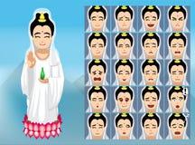 Le Chinois Guan Yin Cartoon Emotion fait face à l'illustration de vecteur illustration libre de droits