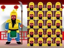 Le Chinois Guan Yu Cartoon Emotion fait face à l'illustration de vecteur illustration libre de droits