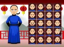 Le Chinois Qing Man Cartoon Emotion fait face à l'illustration de vecteur illustration stock