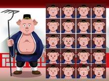 Le Chinois Zhu Bajie Cartoon Emotion fait face à l'illustration de vecteur illustration stock