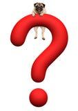 Le chiot drôle de roquet accrochant avec des pattes sur 3d rouge a rendu le point d'interrogation illustration de vecteur