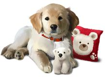 Le chiot Labrador d'or et un ours blanc de jouet Photographie stock libre de droits