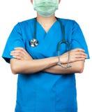 Le chirurgien que le docteur portent le bleu frotte l'uniforme de chemise et le masque protecteur vert Le support de médecin avec photo libre de droits