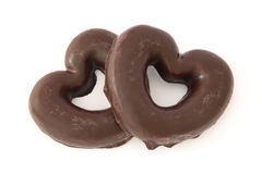 Le chocolat a couvert des coeurs de pain d'épice Image stock