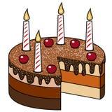Le chocolat de gâteau mire des cerises d'isolement des bougies Photographie stock libre de droits