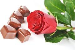 Le chocolat et le rouge se sont levés Photographie stock