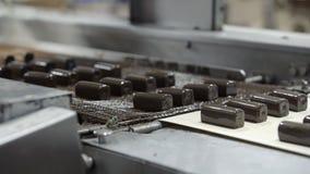 Le chocolat a glacé la production de lait caillé sur l'usine banque de vidéos