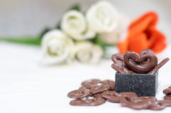 Le chocolat heart Photos stock