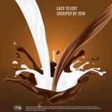 Le chocolat liquide et l'écoulement et le spash de lait se sont mélangés, illustration du vecteur 3d illustration de vecteur