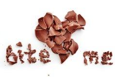 Le chocolat me mordent coeur Image stock