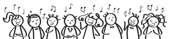 Le choeur, la bannière, les hommes drôles et les femmes chantant, les chiffres noirs et blancs de bâton chantent une chanson illustration de vecteur