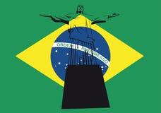 Le Christ de Rio avec l'indicateur brésilien Photo stock
