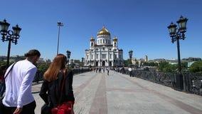 Le Christ le jour de cathédrale de sauveur, Moscou, Russie banque de vidéos