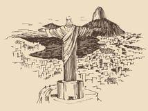 Le Christ la ville de Rio de Janeiro de rédempteur, Brésil illustration stock