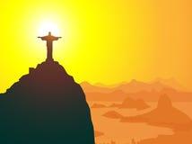 Le Christ le rédempteur et Rio de Janeiro- Images libres de droits