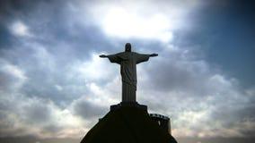 Le Christ le rédempteur Longueur de vue aérienne banque de vidéos