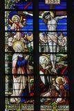 Le Christ sur l'hublot en verre souillé en travers Image libre de droits
