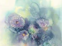 Le chrysanthème fleurit le fond d'aquarelle Le sel abstrait a fait le fond de marbre illustration stock