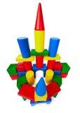 Le château de jouet a effectué à ââof les blocs en plastique Photographie stock libre de droits