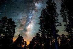 Le ciel étoilé, la manière laiteuse Photo de longue exposition Horizontal de nuit photographie stock