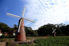 Le ciel bleu avec du coton de peacefull opacifie et jardin européen Photos stock