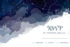 Le ciel bleu-foncé de nuit magique avec le scintillement tient le premier rôle des rs de mariage de vecteur illustration libre de droits
