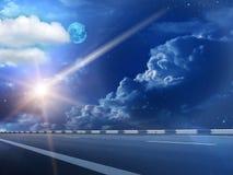 Le ciel de lune opacifie la comète Image stock