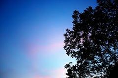 Le ciel est croisement, couvert de nuage bleu-foncé et d'orange rouge Images stock