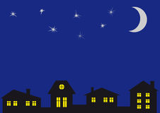 Le ciel nocturne et à la maison. Illustration Stock