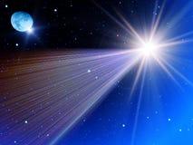 Le ciel stars la lune de comète Images libres de droits
