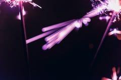 Le cierge magique lilas du Bengale s'allume sur un fond noir en l'honneur des célébrations de nouvelle année et d'anniversaire de Photographie stock