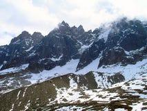 Le cime della catena montuosa di Mont Blanc Fotografie Stock Libere da Diritti