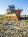 Le cimetière de bateau de la mer d'Aral Image stock