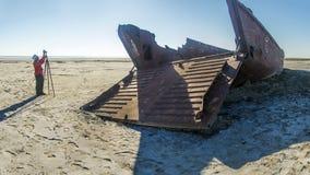 Le cimetière de bateau de la mer d'Aral Photo libre de droits