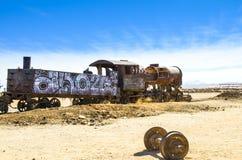 Le cimetière de train, Uyuni, Bolivie Image stock