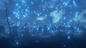 Le cimetière effrayant de nuit avec la luciole magique allume 4K illustration de vecteur