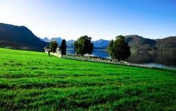 Le cimetière près du lac en Norvège Photographie stock libre de droits