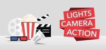 Le cinéma allume le vecteur plat d'action d'appareil-photo Images stock