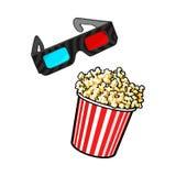 Le cinéma objecte - maïs éclaté et 3d, verres stéréoscopiques illustration stock