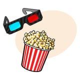Le cinéma objecte - maïs éclaté et 3d, verres stéréoscopiques illustration libre de droits