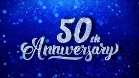 le cinquantième anniversaire souhaite les particules de scintillement de clignotement de la poussière de scintillement bleu faite illustration libre de droits