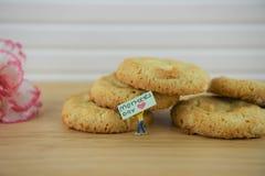 Le citron et le chocolat faits maison assaisonnent des biscuits avec des mots de jour de mères images stock